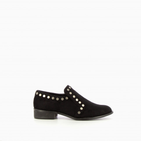 Studded black suede effect loafers