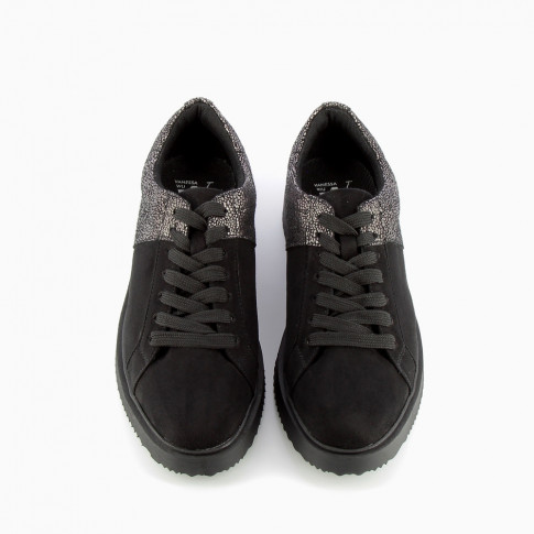 Black and silver trainers