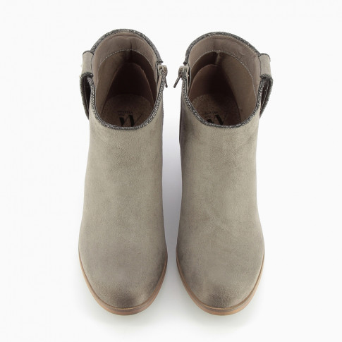 Grey cowboy ankle boots