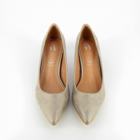 Silver suede effect pumps