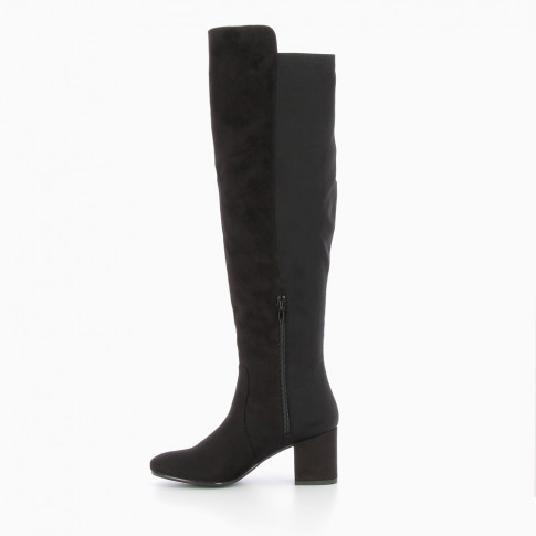 Bi-material black over-the-knee boots