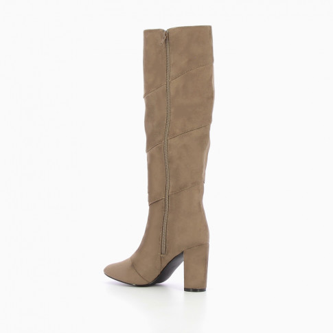 Taupe suede effect heeled boots