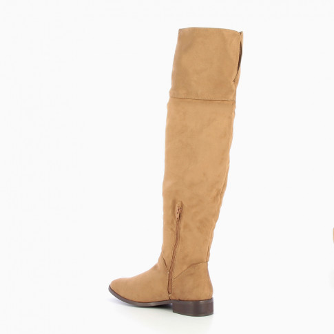 Camel flat over-the-knee boots