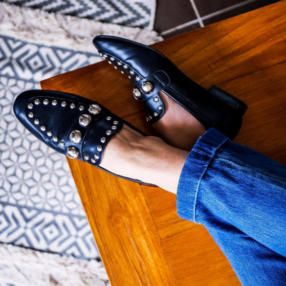 Black cabochon loafers