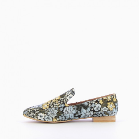 Blue green flowery loafers