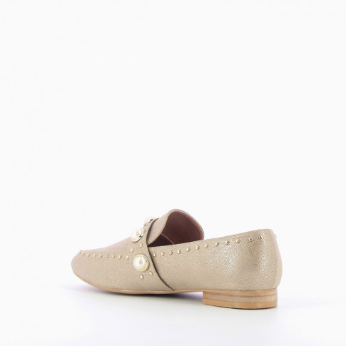 Pearly gold loafers
