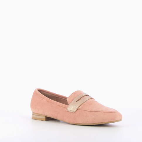 Pink suede-effect loafers with iridescent strap