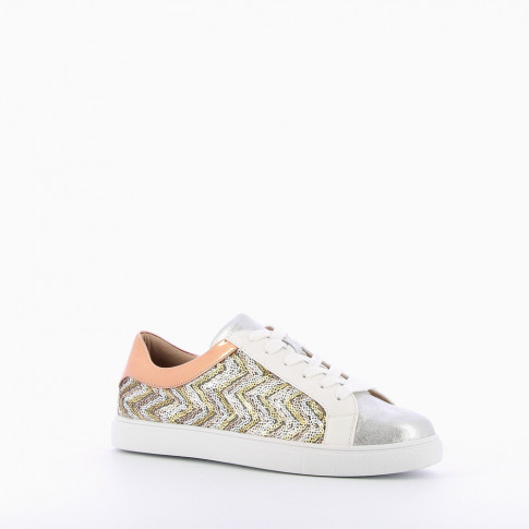 Silver sequinned trainers