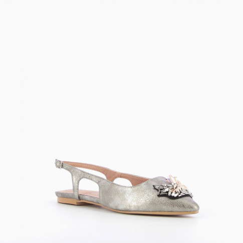 Bejewelled silver ballet flats