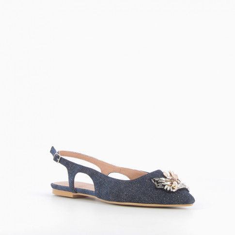 Bejewelled denim-effect ballet flats