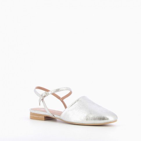 Silver flat Mary Jane slingbacks