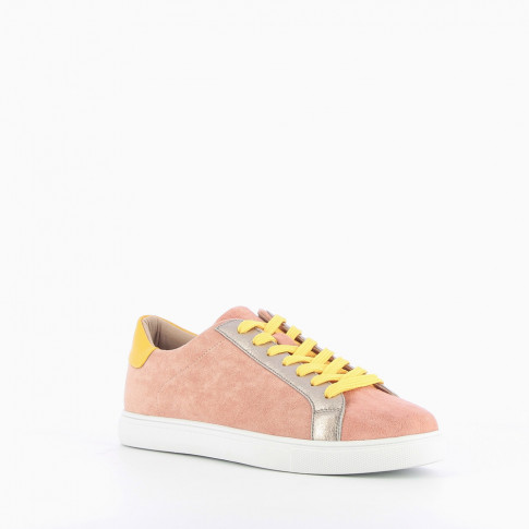 Pink suede-effect trainers with silver and yellow detail