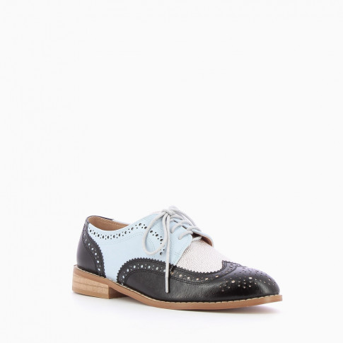 Black and blue serrated and perforated brogues
