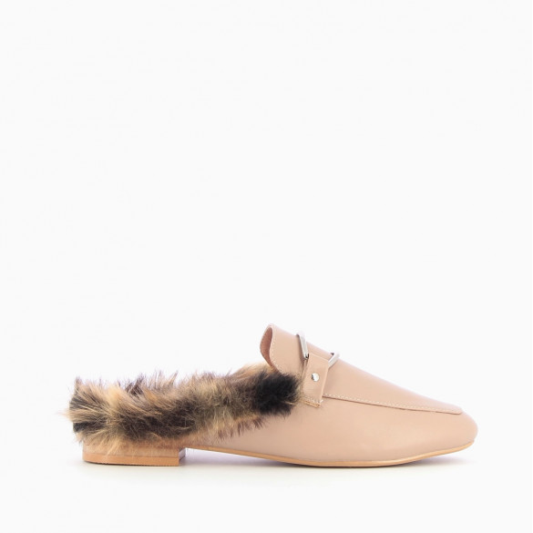 Old rose faux fur backless loafers