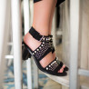 Black suede-effect sandals dotted with pearls and studs