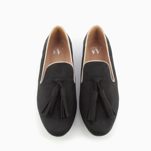 Black suede-effect tasselled loafers