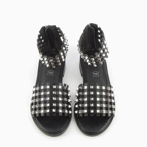 Black checked sandals with studs