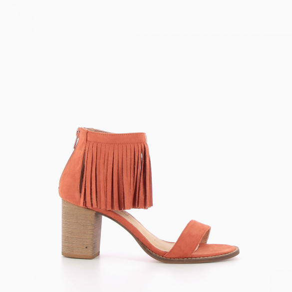 Brick red sandals with fringed ankle strap