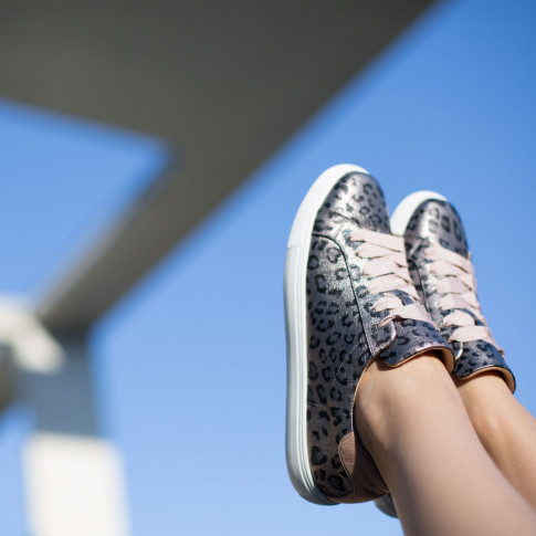 Silver sneakers with leopard-print