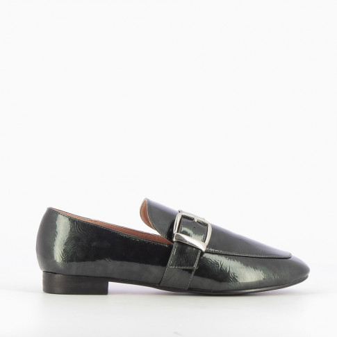 Forest green patent leather loafers with silver buckle