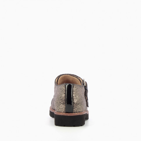 Silver monk strap brogues with pony leather effect