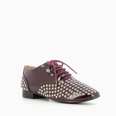 Plum Oxfords with studded yokes