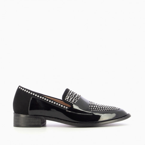 Black bi-material loafers with round studs