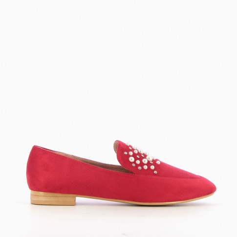 Red imitation suede loafers with pearls and rhinestones