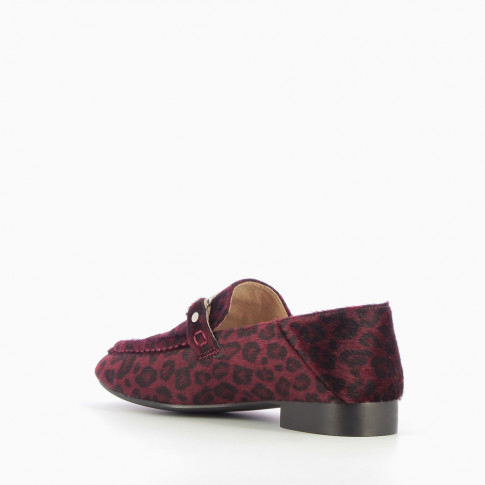 Plum loafer-slippers with pony leather effect