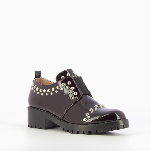 Plum studded brogues with large sole