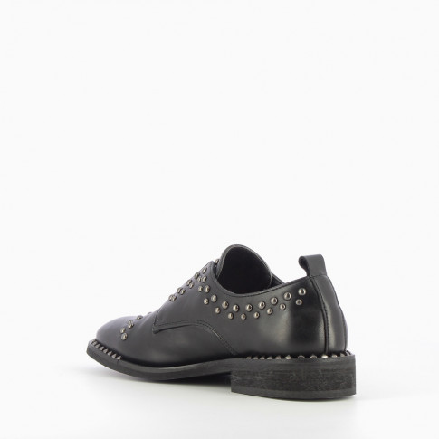 Black studded brogues with elastic closure