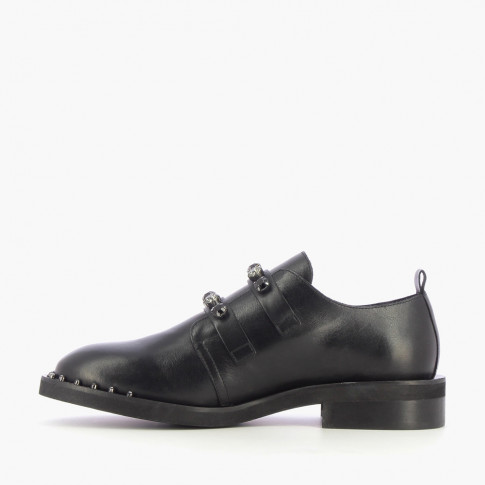 Black brogues with bejeweled buckles