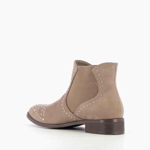 Taupe studded suedette Chelsea boots