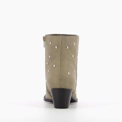 Gray suedette boots with round studs