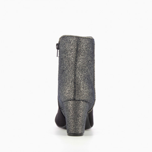 Black bi-material ankle boots