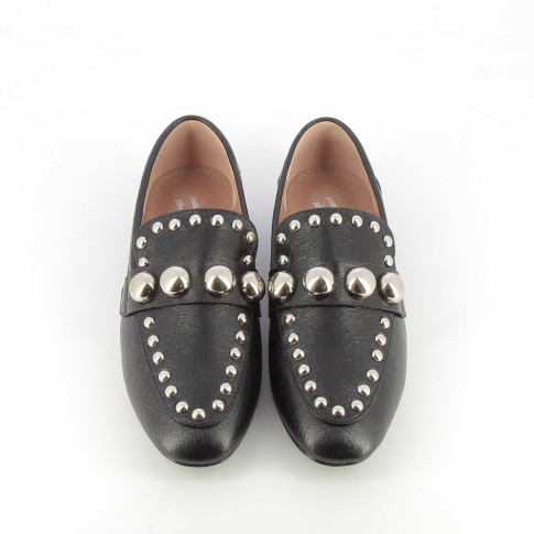 Textured black loafers with cabochons