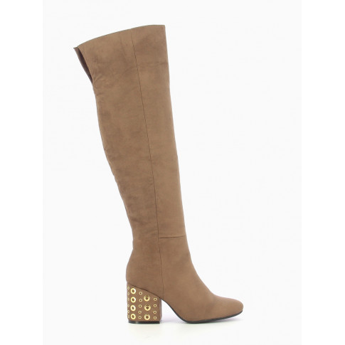 Taupe thigh-highs with heel decorated with eyelets