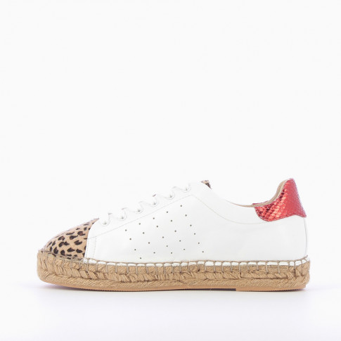 White espadrille sneakers with leopard-print vamp