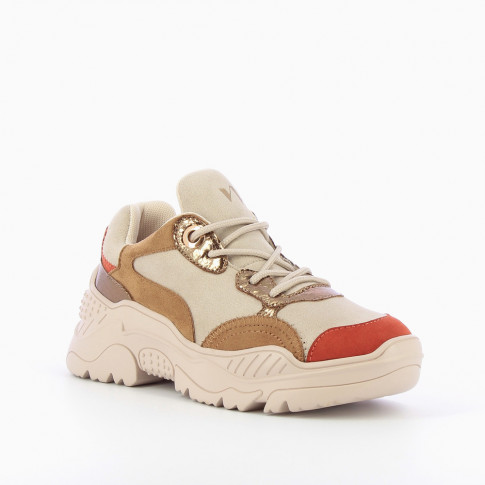 Beige and brick-red platform sneakers
