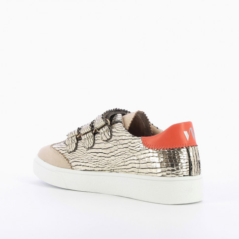 Gold crackled effect sneakers with lace cutouts