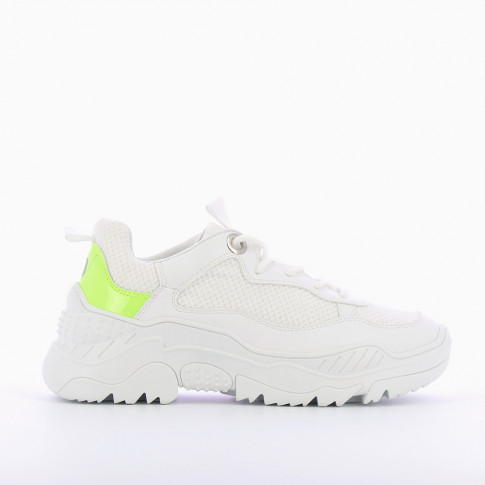 White oversized sneakers with neon green detailing