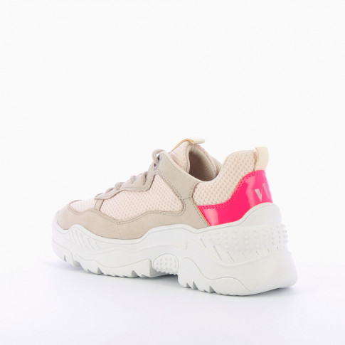 Beige oversized sneakers with neon pink detailing