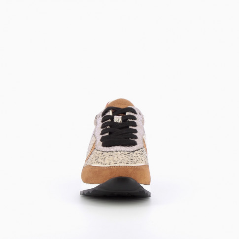 Camel and gold sneakers with leopard-print yoke