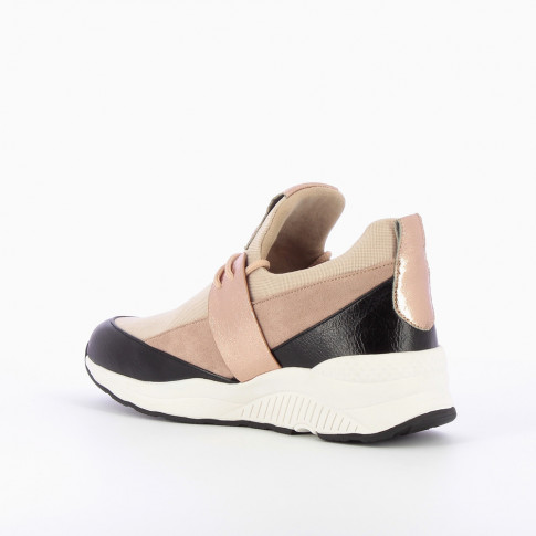 Lightweight sneakers with dusty pink mesh effect
