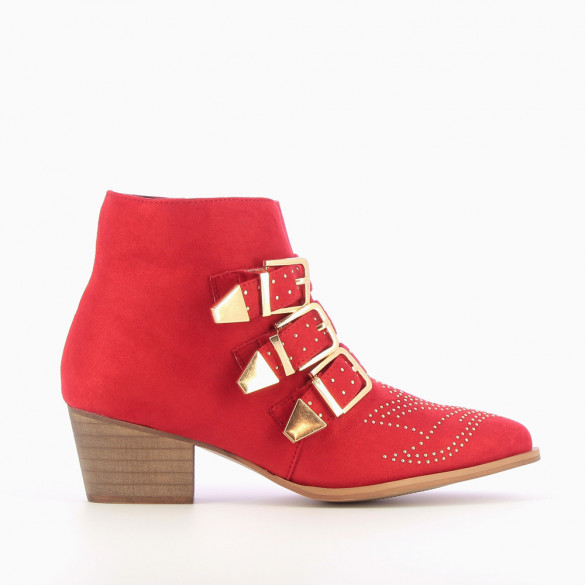 Red suedette ankle boots with gold buckles