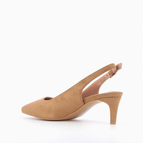 Camel suedette sling back pumps