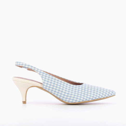 Blue and white gingham sling back pumps