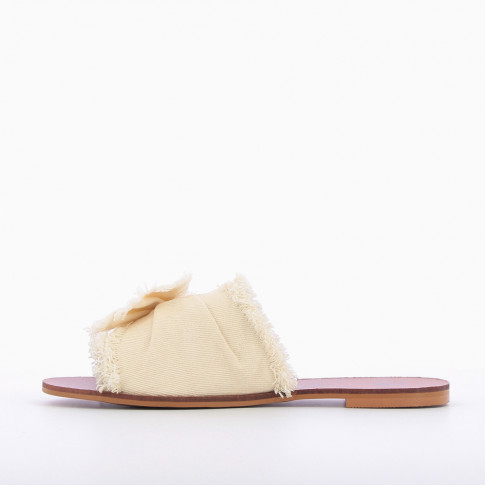 Beige jean mules with bow
