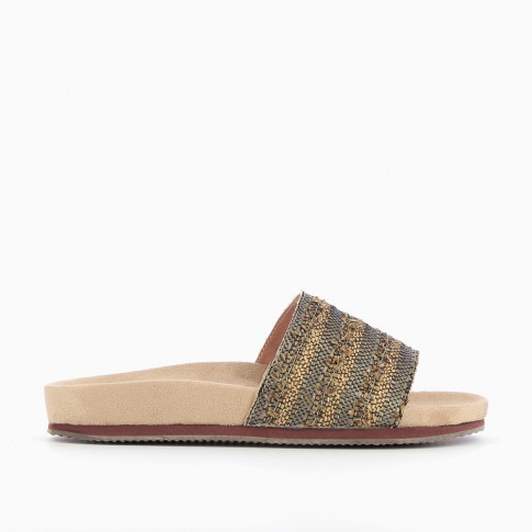 Mules with beige and khaki green woven strap