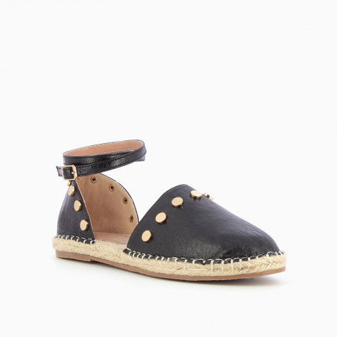 Black espadrilles with round studs